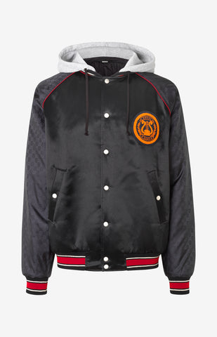 Acetate bomber jacket with lyre patch - Black