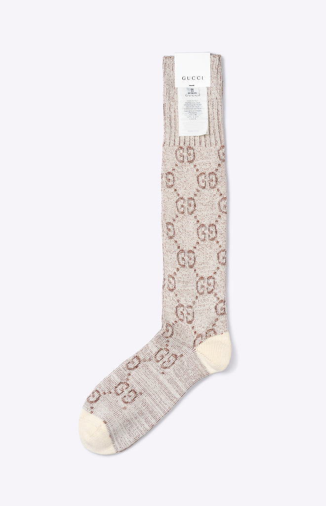 Gucci GG cotton socks - ivory and dark brown