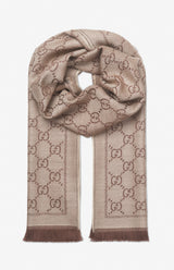 Gucci GG jacquard pattern knitted scarf - Light brown