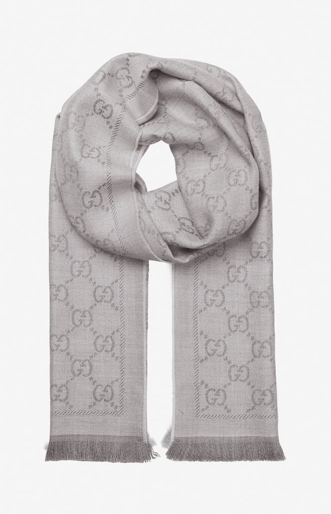 Gucci GG jacquard pattern knitted scarf - grey