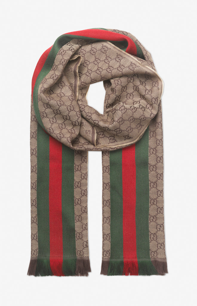 Gucci GG jacquard knitted scarf with Web - light brown