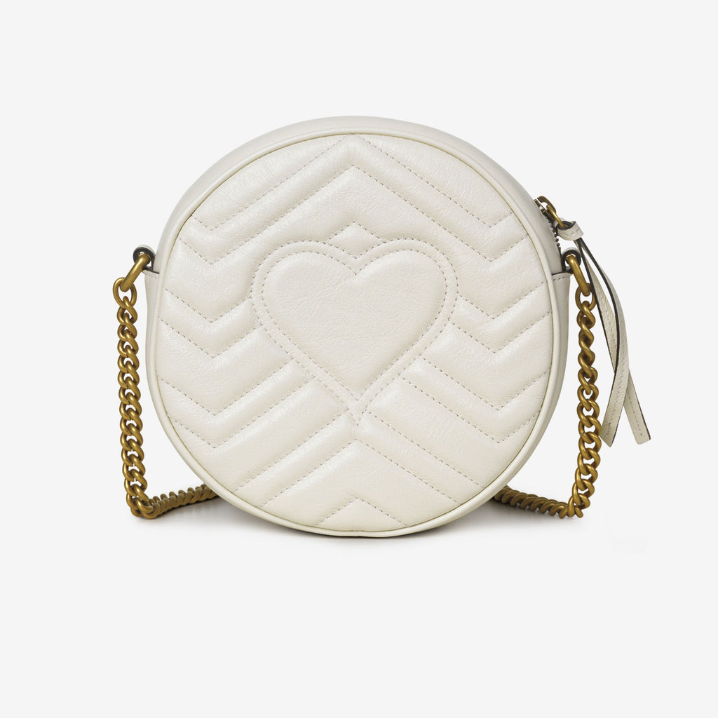 Gucci GG Marmont mini round shoulder bag - White