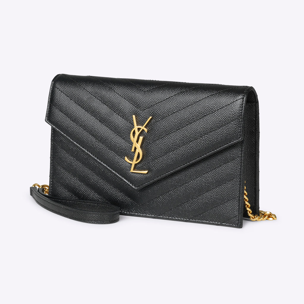 Saint Laurent Envelope chain wallet - black