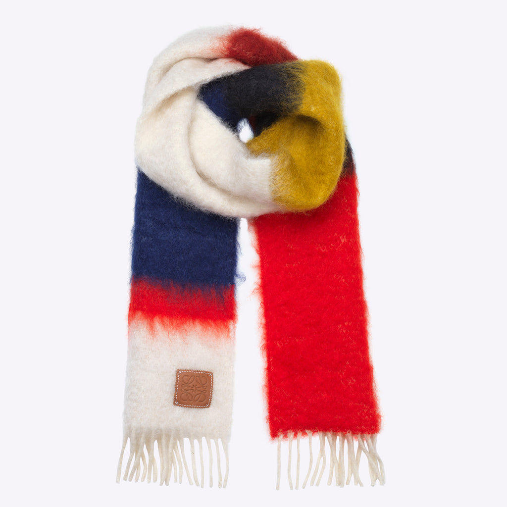 Loewe Striped Mohair Scarf - Red/Multicolour