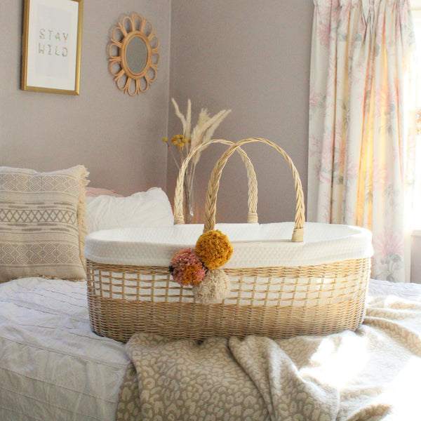 Ava Handmade Rattan Moses Basket luxury bundle including mattress and cotton line