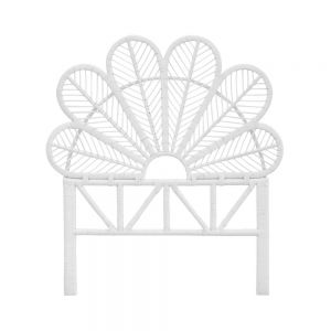 Daisy Rattan Wicker Headboard Single White - Tobs and Ror