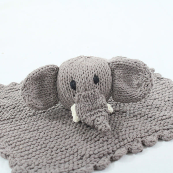 Elephant Organic Cotton Hand Knitted Baby Comforter, Kenana Knitters at Tobs and Ror