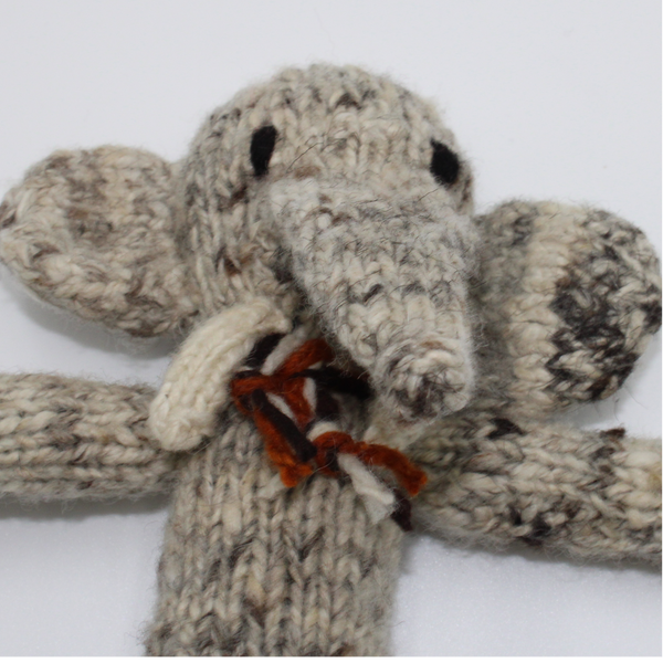 Edith Elephant Organic Wool Hand Knitted Teddy, Kenana Knitters at Tobs and Ror