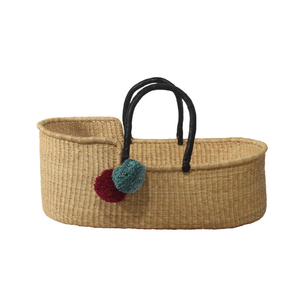 Esi Natural Moses Basket with Black Leather Handles, African Handwoven Moses Baskets by Tobs and Ror