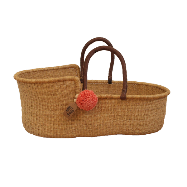 Natural Elephant Grass Moses Basket  with Leather Handles