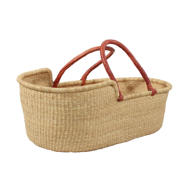 Esi Natural Moses Basket with Tan Leather Handles, African Handwoven Moses Baskets by Tobs and Ror