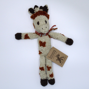 Gaby Giraffe Organic Wool Hand Knitted Teddy, Kenana Knitters at Tobs and Ror