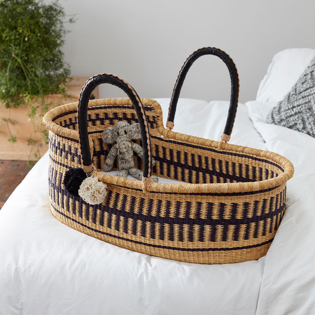 Jojo mono Handwoven Luxury Baby Moses Basket, African Moses Baskets by Tobs and Ror