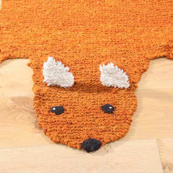 Fox Hand Knitted Organic wool rug, Kenana Knitters UK, KIds Animal Rugs by Tobs and Ror