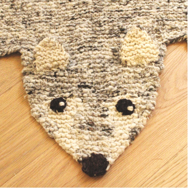 Wolf Hand Knitted Organic wool rug, Kenana Knitters UK, KIds Animal Rugs by Tobs and Ror