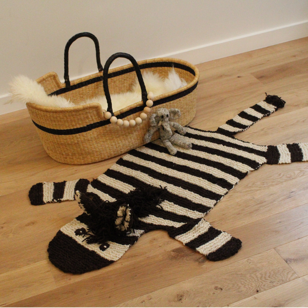 Zebra Hand Knitted Organic wool rug, Kenana Knitters UK, KIds Animal Rugs by Tobs and Ror