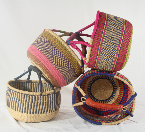 Summer Fruit Large Round Bolga Basket, Handwoven African Baskets by Tobs and Ror