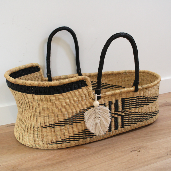 Malaika Handwoven neutral fairtrade african moses basket by tobs and ror