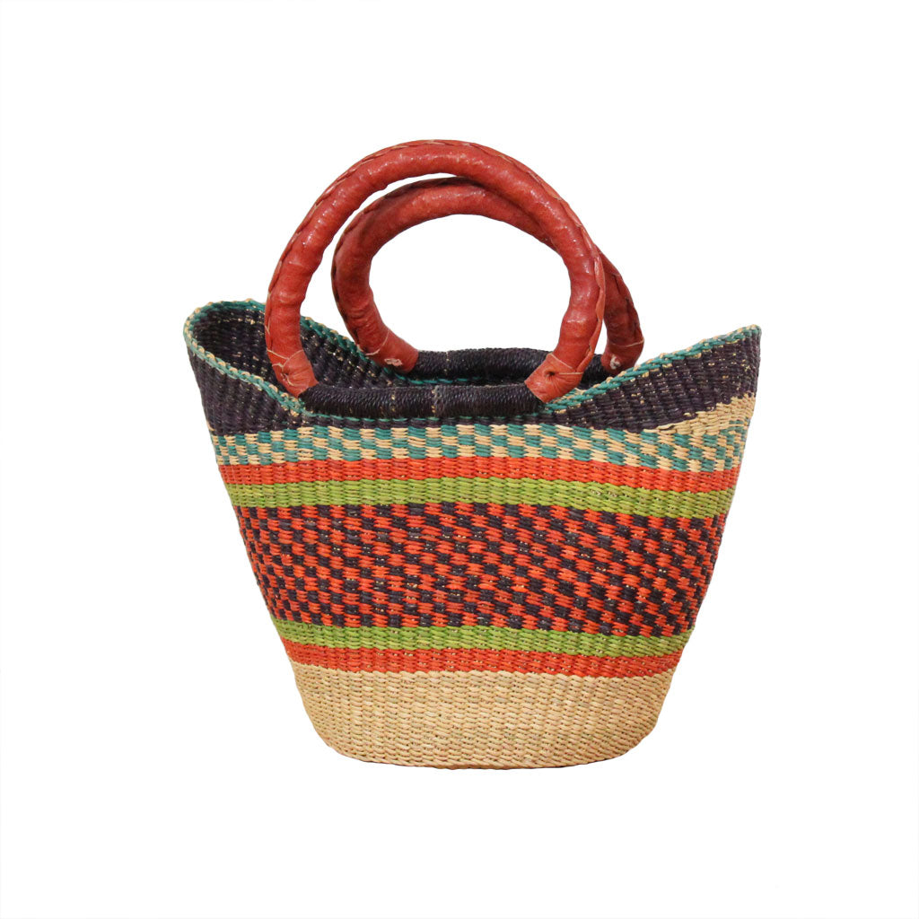 Acorn Mini U-Shopper, Kids Handwoven African Play Baskets By Tobs and Ror