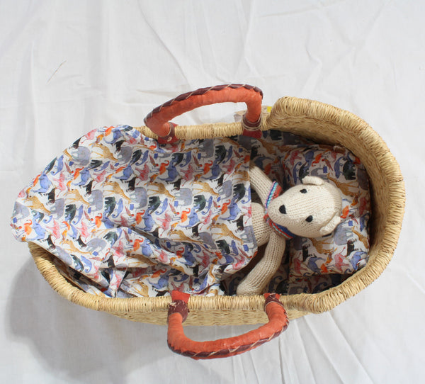 Mini Me Natural Handwoven African Dolls Moses Basket by Tobs and Ror
