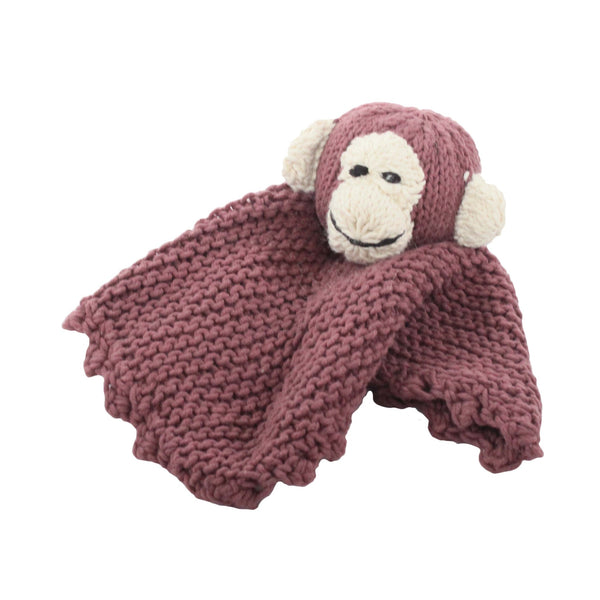 Monkey Organic Cotton Hand Knitted Baby Comforter, Kenana Knitters at Tobs and Ror