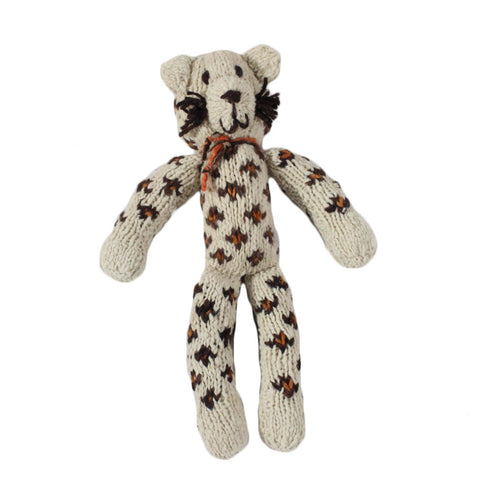 Sarah Snow Leopard Organic Wool Hand Knitted Teddies, Kenana Knitters at Tobs and Ror