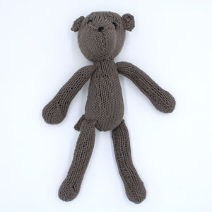 Ditsy Organic Cotton Teddy Bear, hand knitted natural keepsake teddy bear, Kenana Knitters at Tobs and Ror