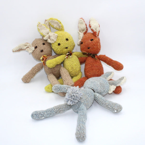 Bobby Bunny Brown, Organic Wool Bunny Teddy, Kenana Knitters at Tobs and Ror