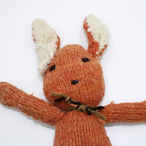 Bobby Bunny Rust, Organic Wool Bunny Teddy, Kenana Knitters at Tobs and Ror