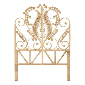 Peacock Rattan Wicker Headboard Single Natural - Tobs and Ror
