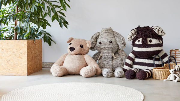 Giant Hand knitted organic wool teddy bear, Kenana Knitters at Tobs and Ror