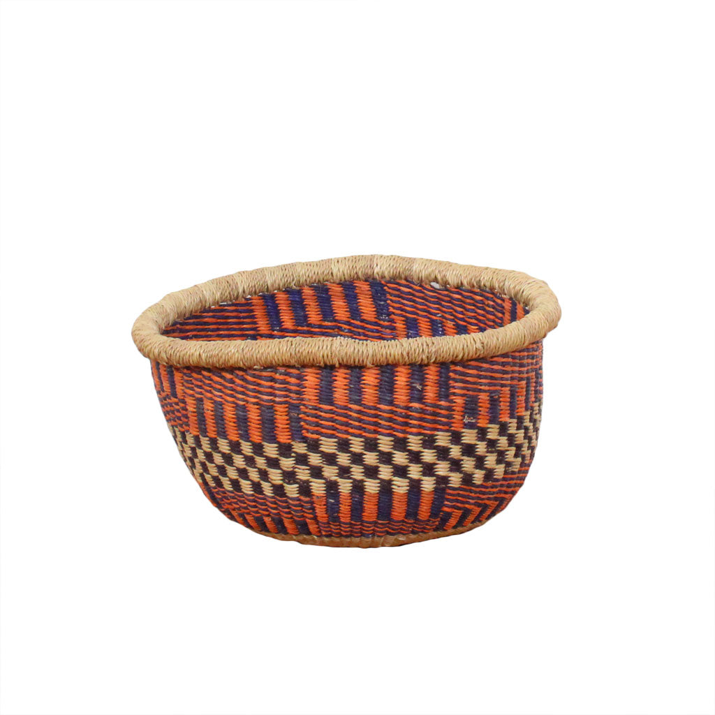Small round woven bowl storage basket orange and blue