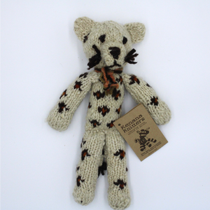 Sammy Snow Leopard Organic Wool Hand Knitted Teddies, Kenana Knitters at Tobs and Ror