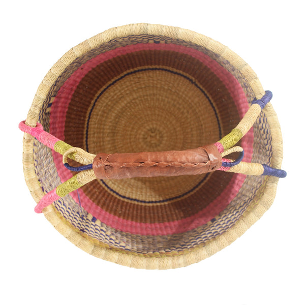 Sweet Pea Large Round Bolga Basket, Handwoven African Baskets by Tobs and Ror