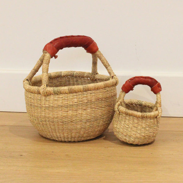 teeny handwoven round basket, kids play basket, mini storage baskets by tobs and ror