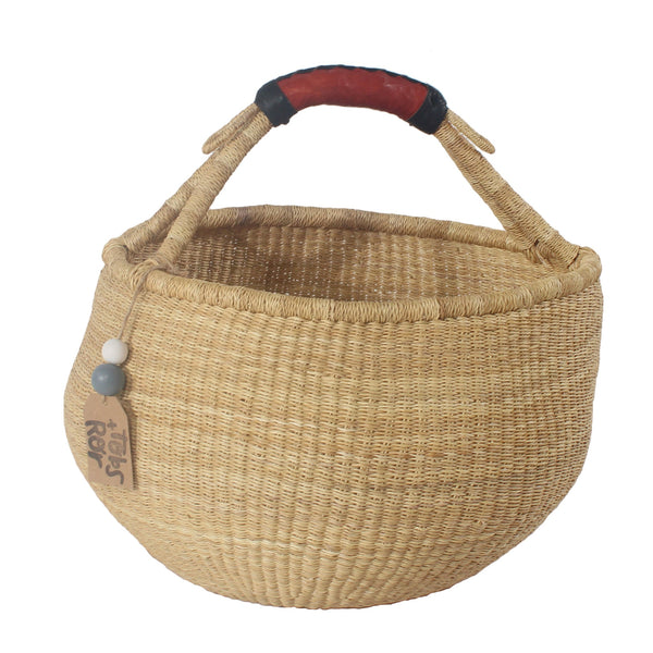 Vanilla 2 Large Round Bolga Basket, Handwoven African Baskets by Tobs and Ror