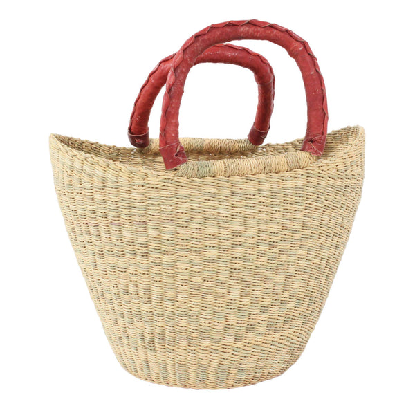 Vanilla Mini U-Shopper with tan handles, Kids Handwoven African Play Baskets By Tobs and Ror