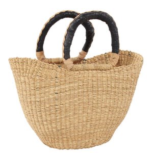 Vanila Mini U-Shopper with duo black and cream handle, Handwoven African Kids Play Baskets by Tobs and Ror