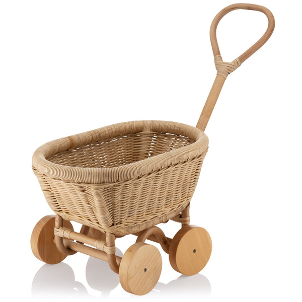 Natural Rattan Handmade toy trolley, kids pull along toy wagon