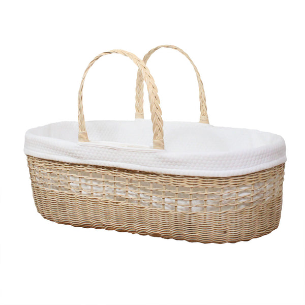 Ava Handmade Rattan Moses Basket luxury bundle including mattress and cotton liner