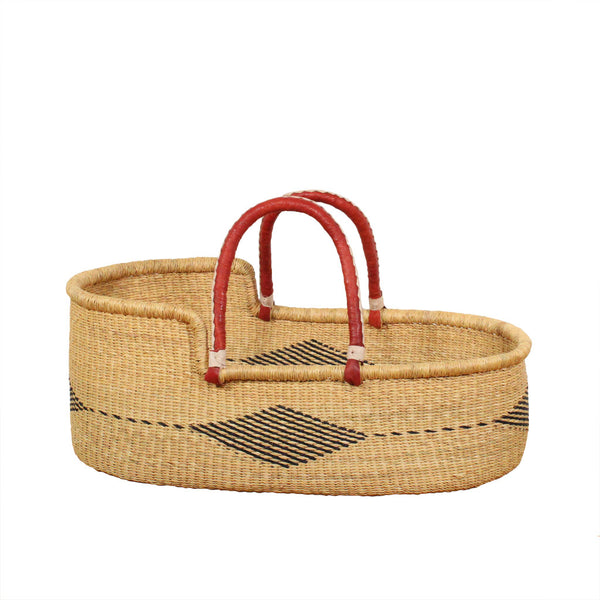 Wren hand woven african moses basket, natural eco friendly baby bassinets reduced at Tobs and Ror