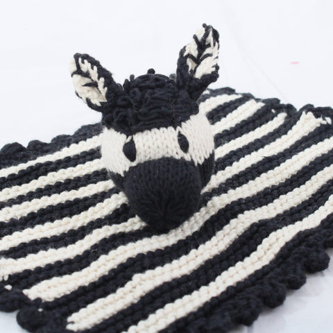 Zebra Organic Cotton Hand Knitted Baby Comforter, Kenana Knitters at Tobs and Ror