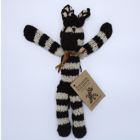Zebedee Zebra Organic Wool Hand Knitted Teddies, Kenana Knitters at Tobs and Ror