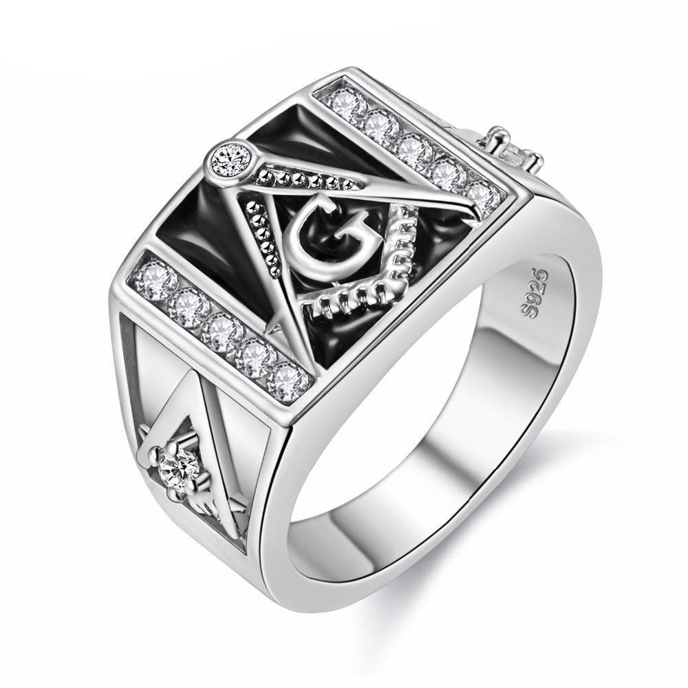 rings freemason stainless s steel masonic jewelry college look gold pin style ring plated