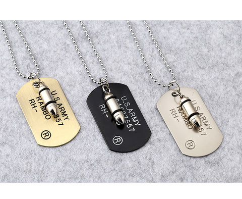 Army Bullet Punk Rock Hip Hop Necklace