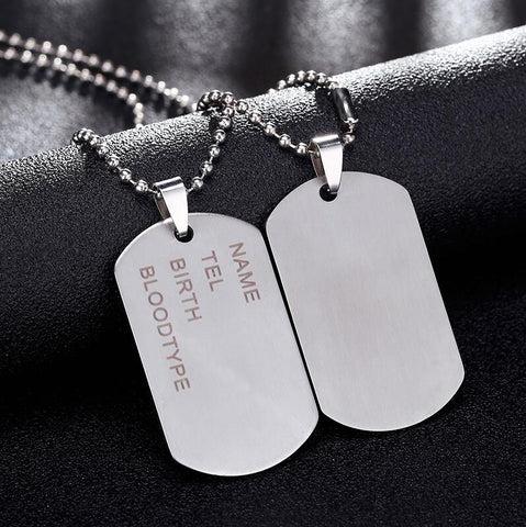 Military Dog Tag Men's Stainless Steel Pendant