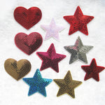 10pcs Mix Heart Star Sequins Patches For Clothes