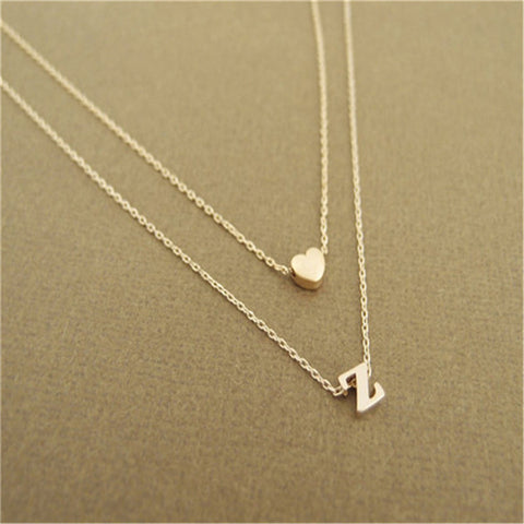 Heart Initial letter Necklace