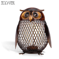Image of Piggy Bank Owl Shaped Figurine Saving Box Home Decoration Crafts Gift