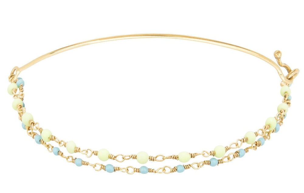Gold Double Bracelet with Tiny Turquoise and Yellow Beads